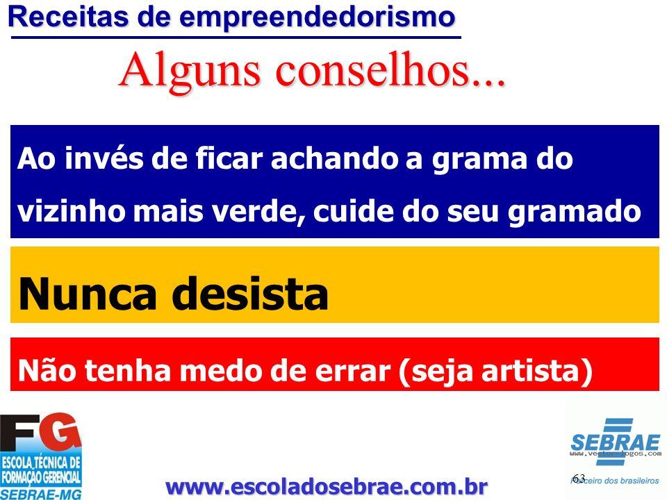 www.escoladosebrae.com.br 63 Alguns conselhos... Ao invés de ficar achando a grama do vizinho mais verde, cuide do seu gramado Nunca desista Não tenha