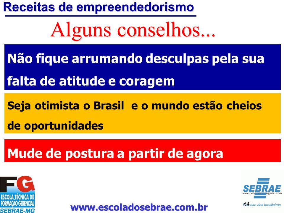 www.escoladosebrae.com.br 64 Alguns conselhos... Não fique arrumando desculpas pela sua falta de atitude e coragem Seja otimista o Brasil e o mundo es
