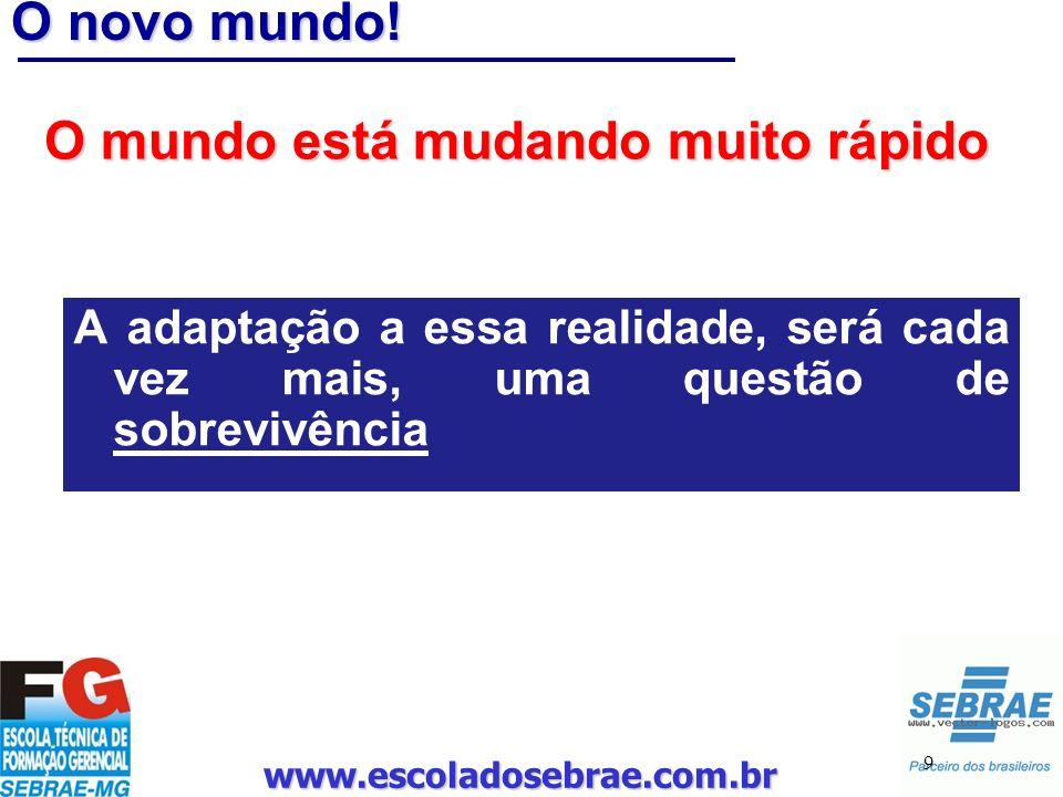 www.escoladosebrae.com.br 9 O novo mundo! O mundo está mudando muito rápido A adaptação a essa realidade, será cada vez mais, uma questão de sobrevivê