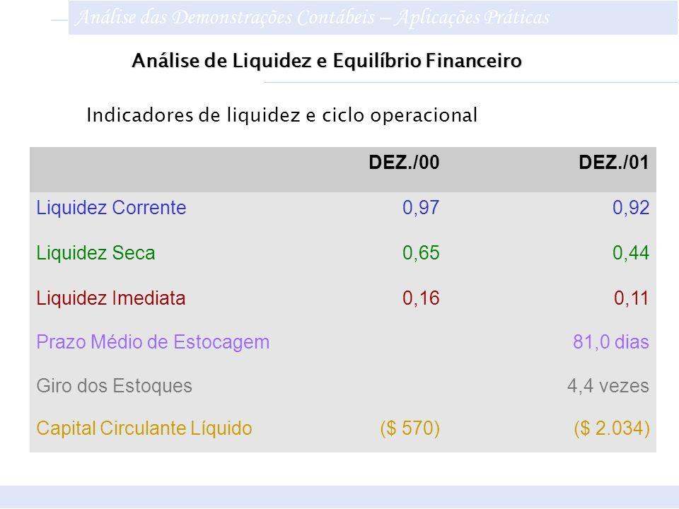 DEZ./00DEZ./01 Liquidez Corrente0,970,92 Liquidez Seca0,650,44 Liquidez Imediata0,160,11 Prazo Médio de Estocagem 81,0 dias Giro dos Estoques 4,4 veze