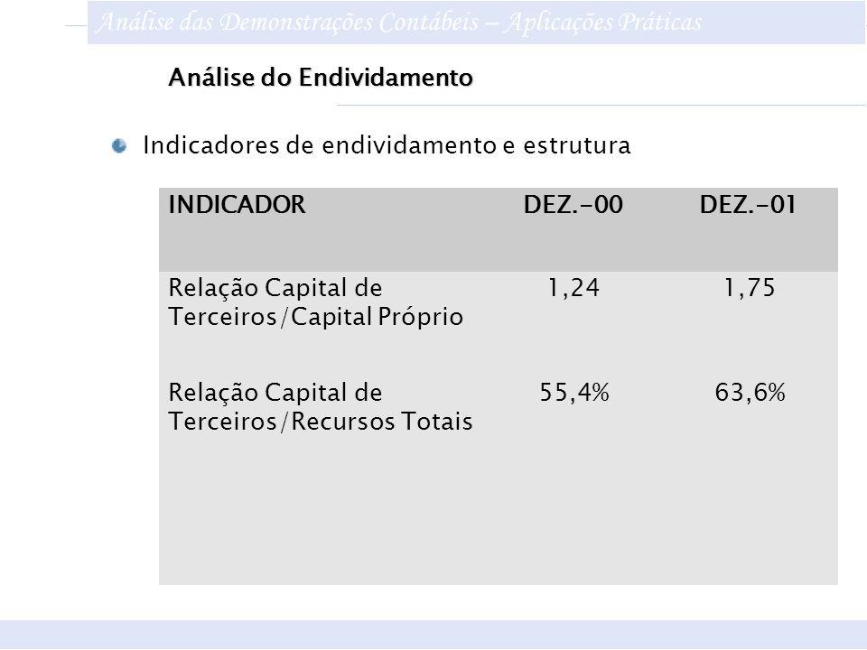 Análise do Endividamento INDICADORDEZ.-00DEZ.-01 Relação Capital de Terceiros/Capital Próprio 1,241,75 Relação Capital de Terceiros/Recursos Totais 55