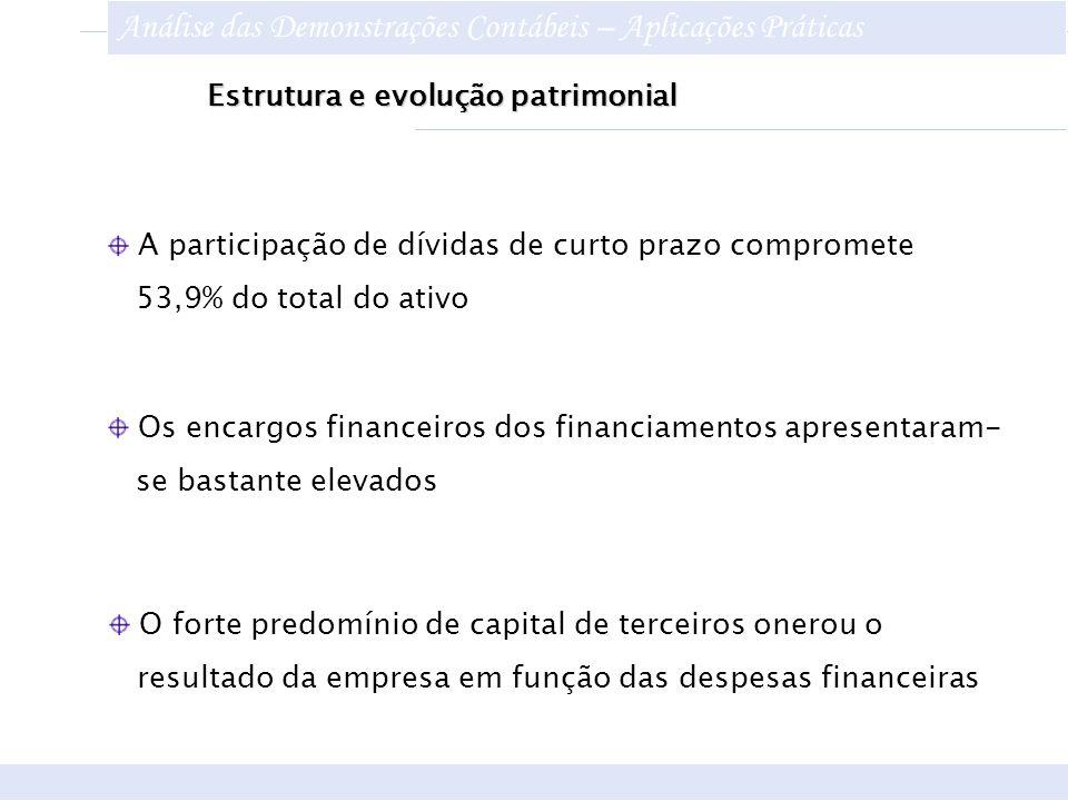 Estrutura e evolução patrimonial Os encargos financeiros dos financiamentos apresentaram- se bastante elevados O forte predomínio de capital de tercei