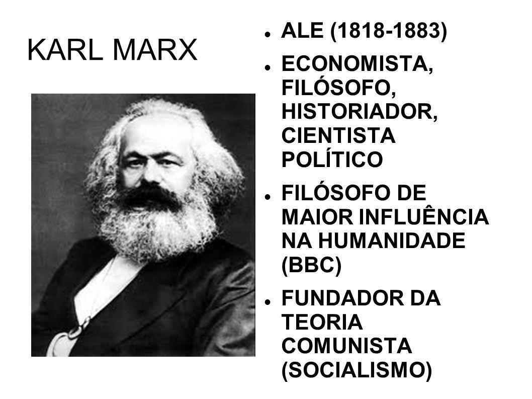 KARL MARX ALE (1818-1883) ECONOMISTA, FILÓSOFO, HISTORIADOR, CIENTISTA POLÍTICO FILÓSOFO DE MAIOR INFLUÊNCIA NA HUMANIDADE (BBC) FUNDADOR DA TEORIA CO