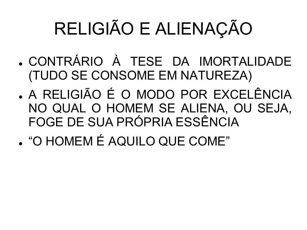 RELIGIÃO E ALIENAÇÃO CONTRÁRIO À TESE DA IMORTALIDADE (TUDO SE CONSOME EM NATUREZA) A RELIGIÃO É O MODO POR EXCELÊNCIA NO QUAL O HOMEM SE ALIENA, OU S