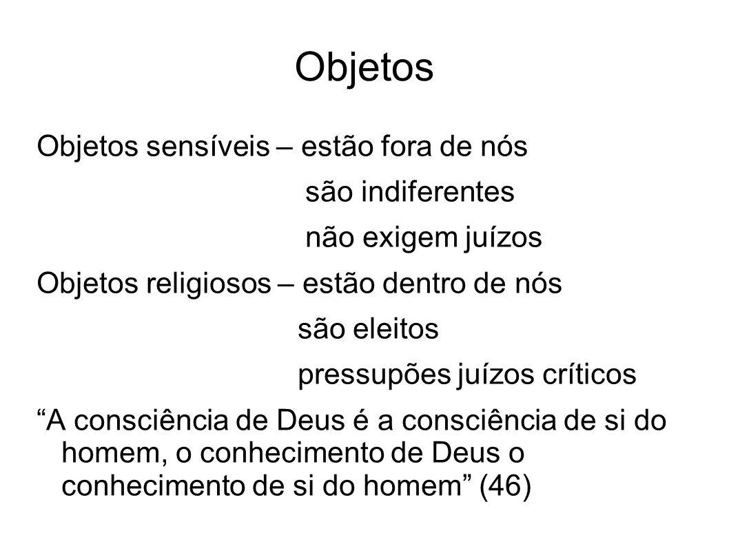 Objetos Objetos sensíveis – estão fora de nós são indiferentes não exigem juízos Objetos religiosos – estão dentro de nós são eleitos pressupões juízo