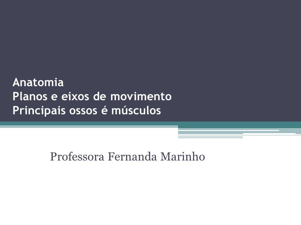 Anatomia Planos e eixos de movimento Principais ossos é músculos Professora Fernanda Marinho