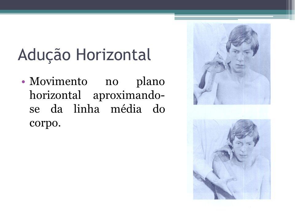 Adução Horizontal Movimento no plano horizontal aproximando- se da linha média do corpo.