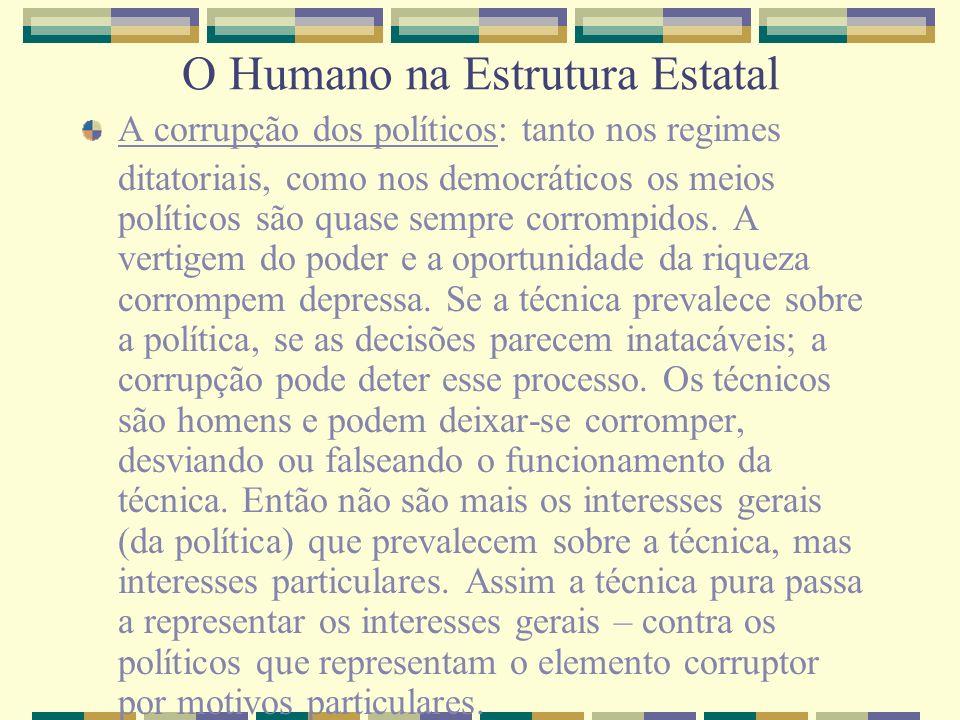 O Humano na Estrutura Estatal A corrupção dos políticos: tanto nos regimes ditatoriais, como nos democráticos os meios políticos são quase sempre corr