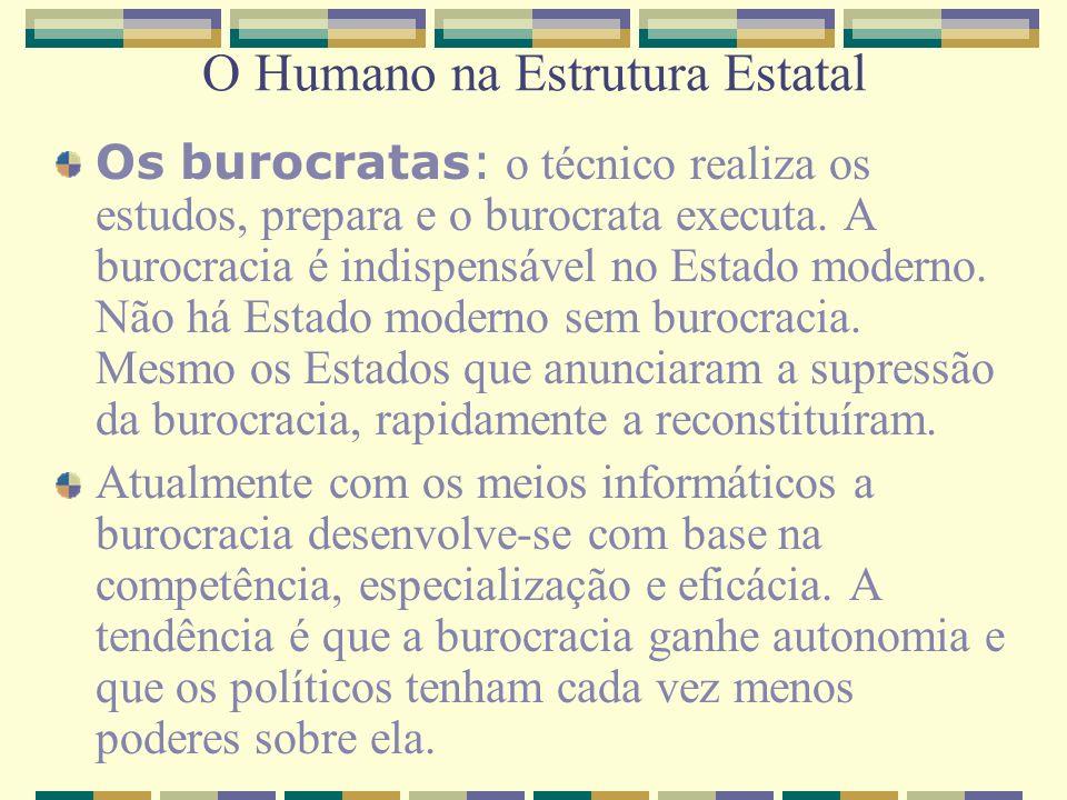 O Humano na Estrutura Estatal Os burocratas: o técnico realiza os estudos, prepara e o burocrata executa. A burocracia é indispensável no Estado moder