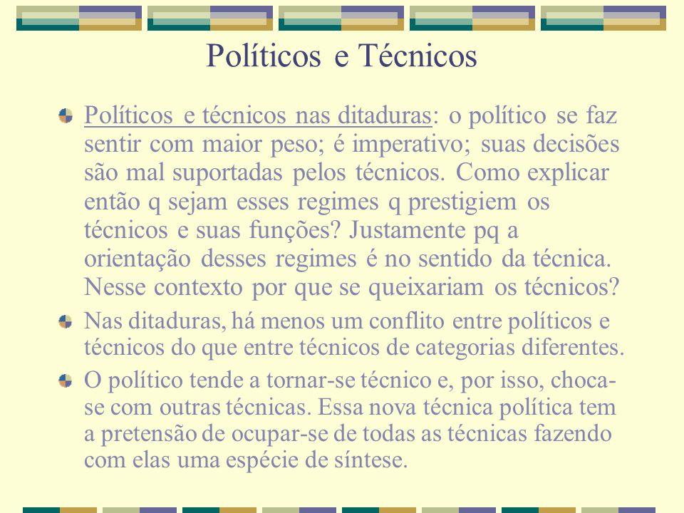 Políticos e Técnicos Políticos e técnicos nas ditaduras: o político se faz sentir com maior peso; é imperativo; suas decisões são mal suportadas pelos
