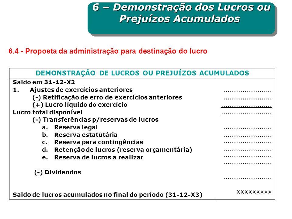 DEMONSTRAÇÃO DE LUCROS OU PREJUÍZOS ACUMULADOS Saldo em 31-12-X2 1.Ajustes de exercícios anteriores (-) Retificação de erro de exercícios anteriores (