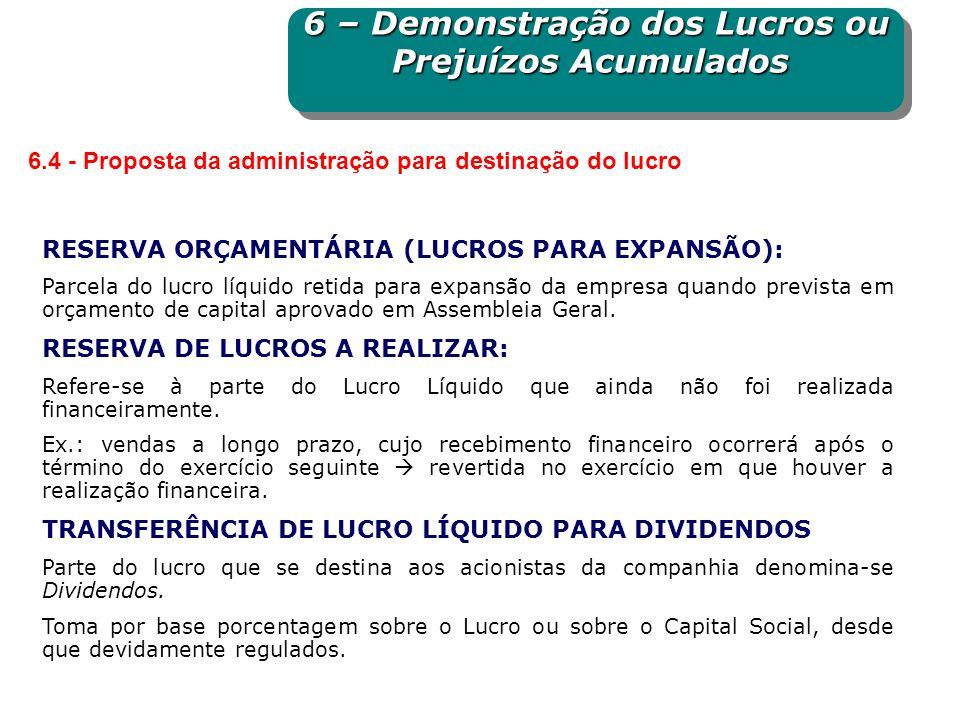 RESERVA ORÇAMENTÁRIA (LUCROS PARA EXPANSÃO): Parcela do lucro líquido retida para expansão da empresa quando prevista em orçamento de capital aprovado