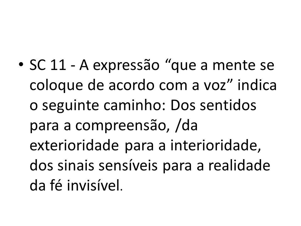 SC 11 - A expressão que a mente se coloque de acordo com a voz indica o seguinte caminho: Dos sentidos para a compreensão, /da exterioridade para a in
