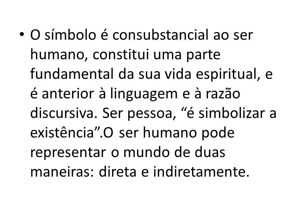 O símbolo é consubstancial ao ser humano, constitui uma parte fundamental da sua vida espiritual, e é anterior à linguagem e à razão discursiva. Ser p