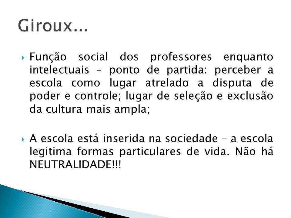 Função social dos professores enquanto intelectuais – ponto de partida: perceber a escola como lugar atrelado a disputa de poder e controle; lugar de