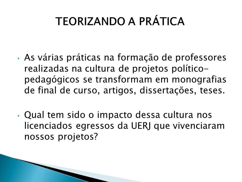 As várias práticas na formação de professores realizadas na cultura de projetos político- pedagógicos se transformam em monografias de final de curso,