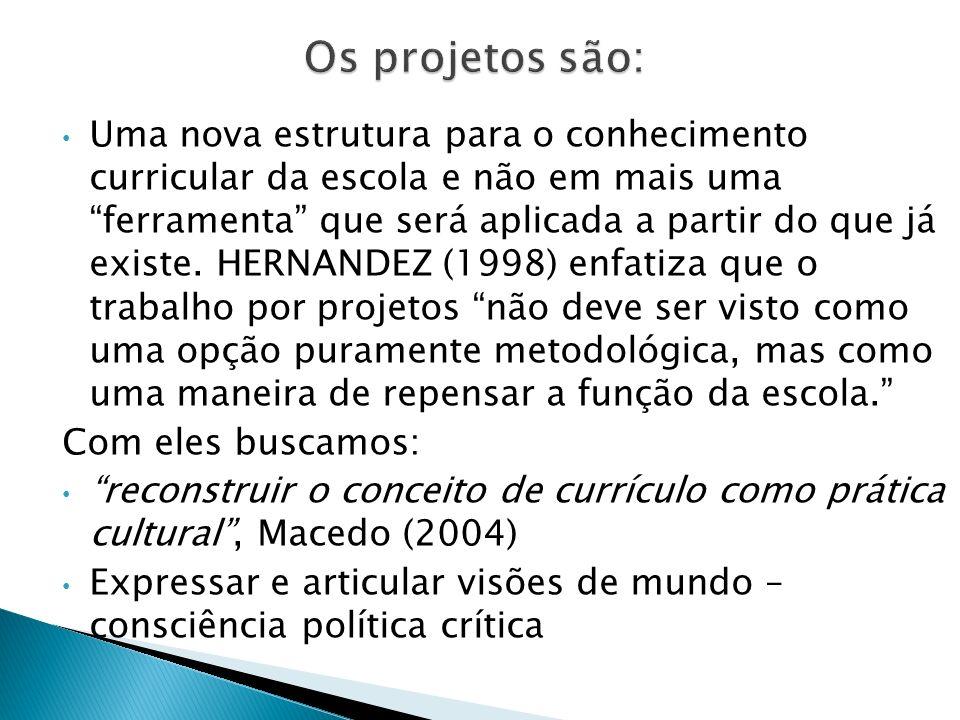 Uma nova estrutura para o conhecimento curricular da escola e não em mais uma ferramenta que será aplicada a partir do que já existe. HERNANDEZ (1998)
