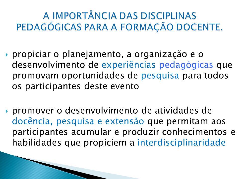 propiciar o planejamento, a organização e o desenvolvimento de experiências pedagógicas que promovam oportunidades de pesquisa para todos os participa