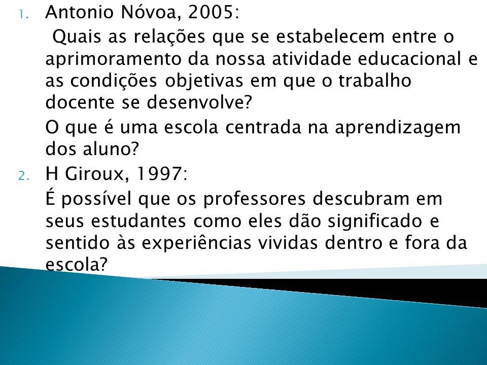 1. Antonio Nóvoa, 2005: Quais as relações que se estabelecem entre o aprimoramento da nossa atividade educacional e as condições objetivas em que o tr