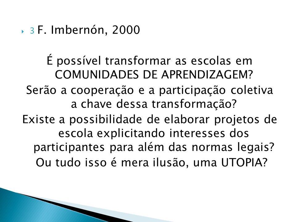 3 F. Imbernón, 2000 É possível transformar as escolas em COMUNIDADES DE APRENDIZAGEM? Serão a cooperação e a participação coletiva a chave dessa trans
