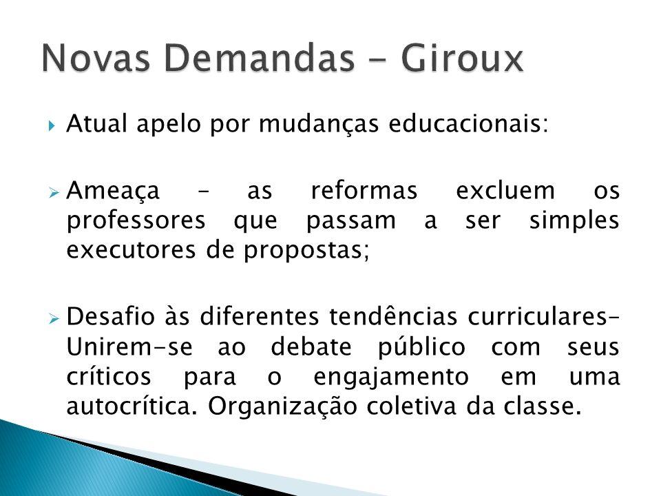 Atual apelo por mudanças educacionais: Ameaça – as reformas excluem os professores que passam a ser simples executores de propostas; Desafio às difere