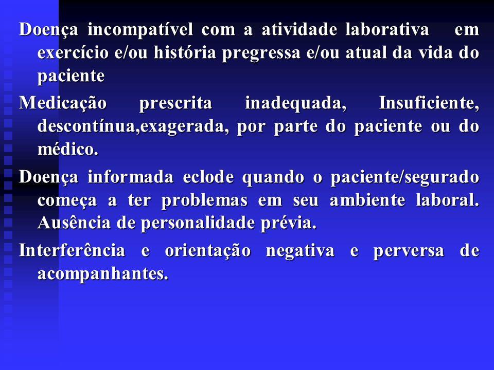 Doença incompatível com a atividade laborativa em exercício e/ou história pregressa e/ou atual da vida do paciente Medicação prescrita inadequada, Ins