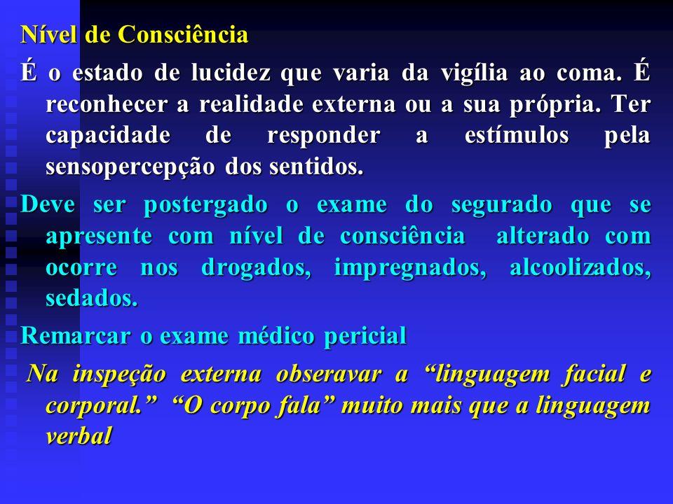 Nível de Consciência É o estado de lucidez que varia da vigília ao coma. É reconhecer a realidade externa ou a sua própria. Ter capacidade de responde