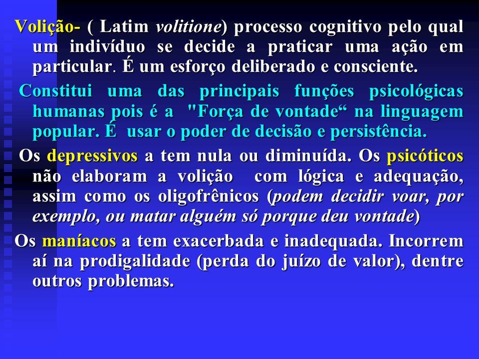 Volição- ( Latim volitione) processo cognitivo pelo qual um indivíduo se decide a praticar uma ação em particular. É um esforço deliberado e conscient