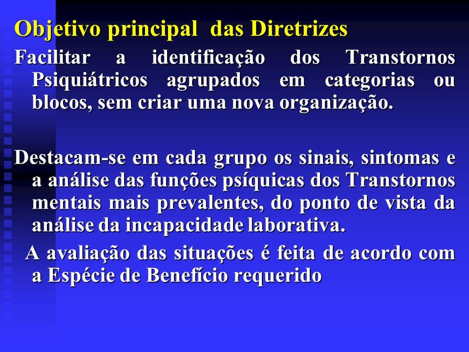 Objetivo principal das Diretrizes Facilitar a identificação dos Transtornos Psiquiátricos agrupados em categorias ou blocos, sem criar uma nova organi