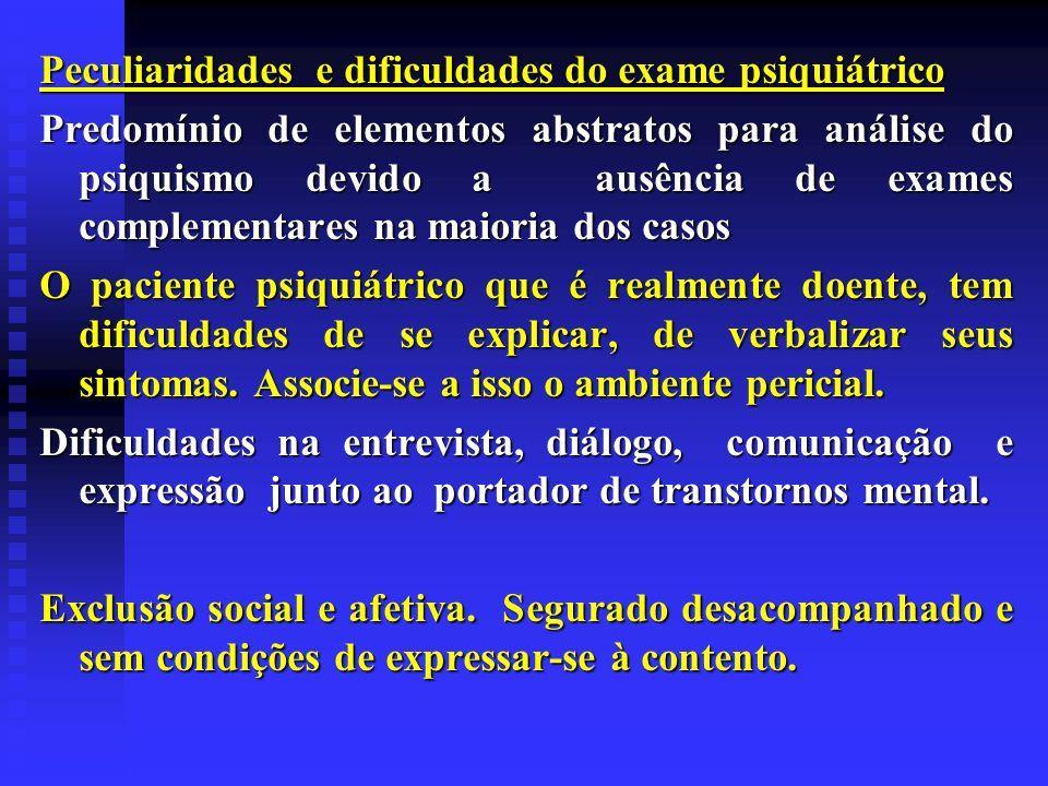 Peculiaridades e dificuldades do exame psiquiátrico Predomínio de elementos abstratos para análise do psiquismo devido a ausência de exames complement