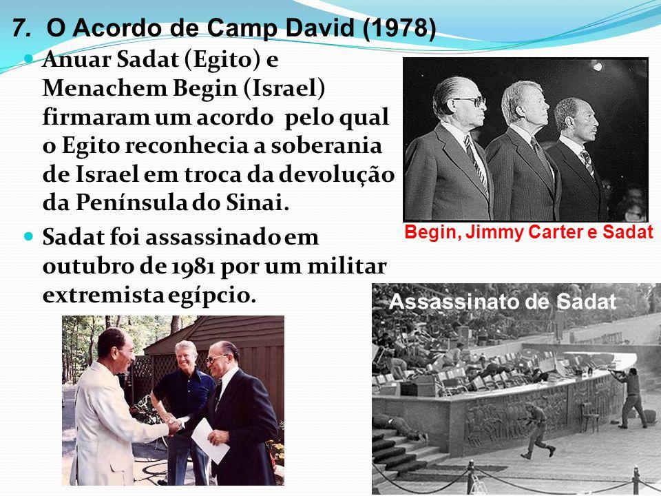 7. O Acordo de Camp David (1978) Anuar Sadat (Egito) e Menachem Begin (Israel) firmaram um acordo pelo qual o Egito reconhecia a soberania de Israel e
