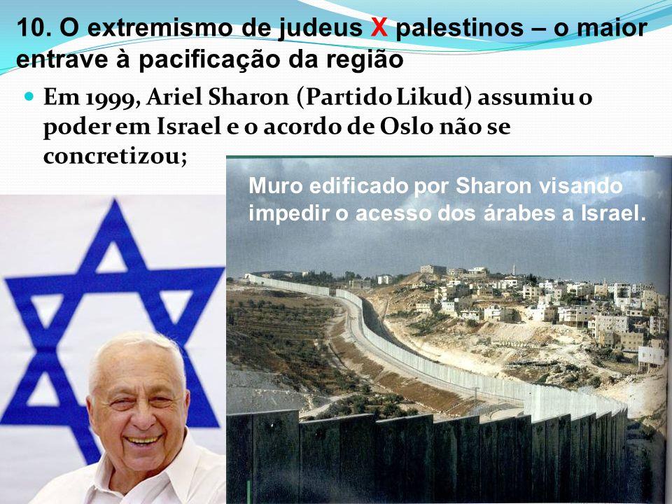 10. O extremismo de judeus X palestinos – o maior entrave à pacificação da região Em 1999, Ariel Sharon (Partido Likud) assumiu o poder em Israel e o