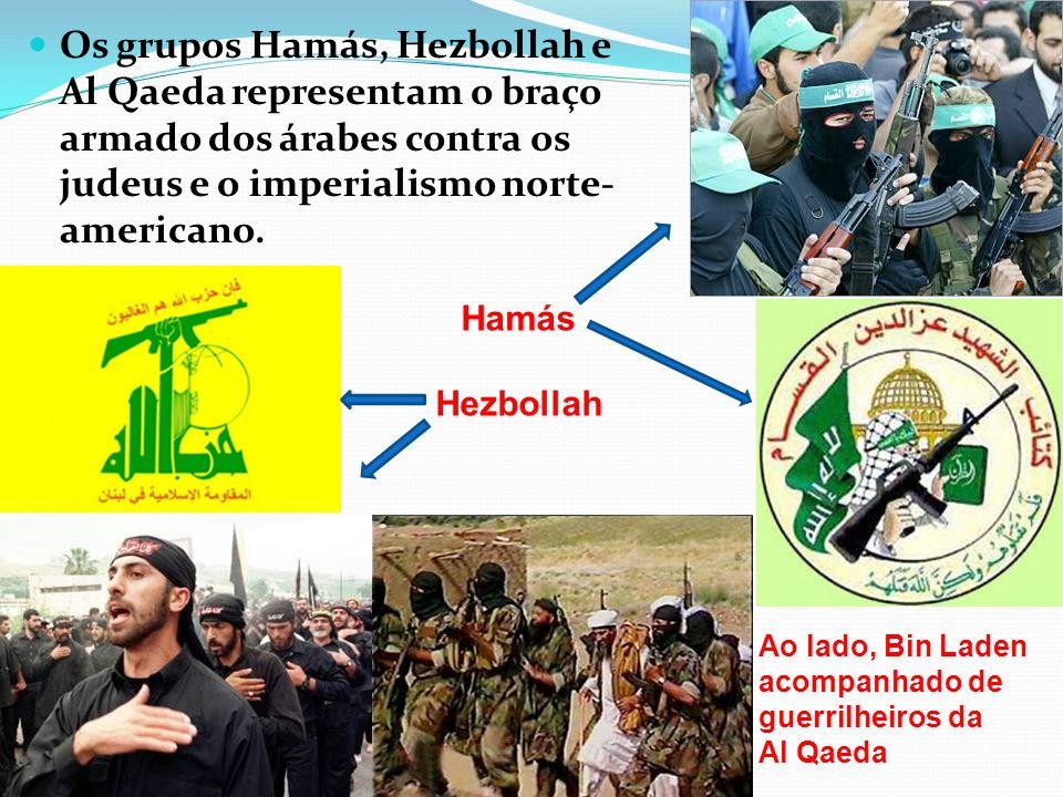 Os grupos Hamás, Hezbollah e Al Qaeda representam o braço armado dos árabes contra os judeus e o imperialismo norte- americano. Hamás Hezbollah Ao lad
