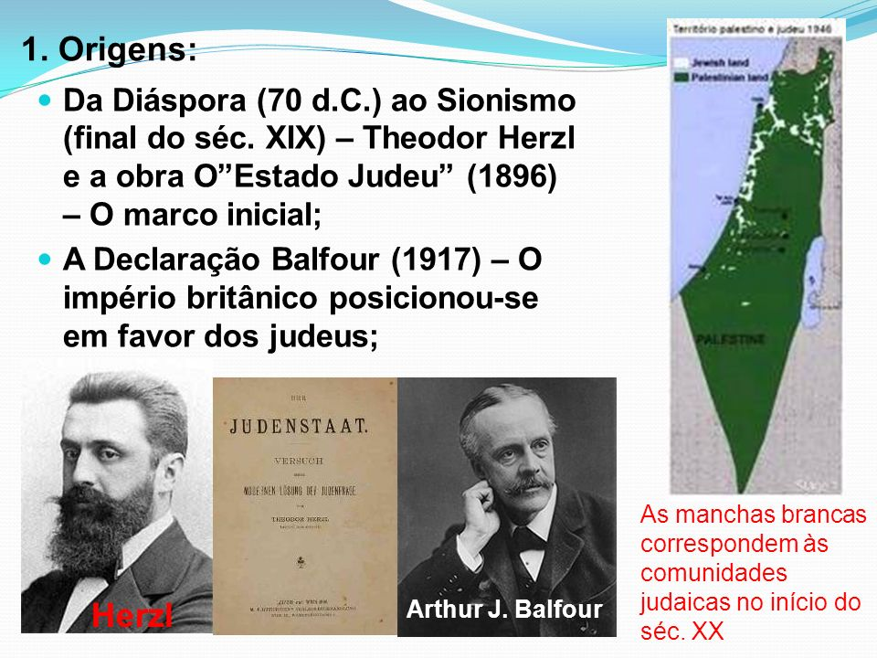 1. Origens: Da Diáspora (70 d.C.) ao Sionismo (final do séc. XIX) – Theodor Herzl e a obra OEstado Judeu (1896) – O marco inicial; A Declaração Balfou