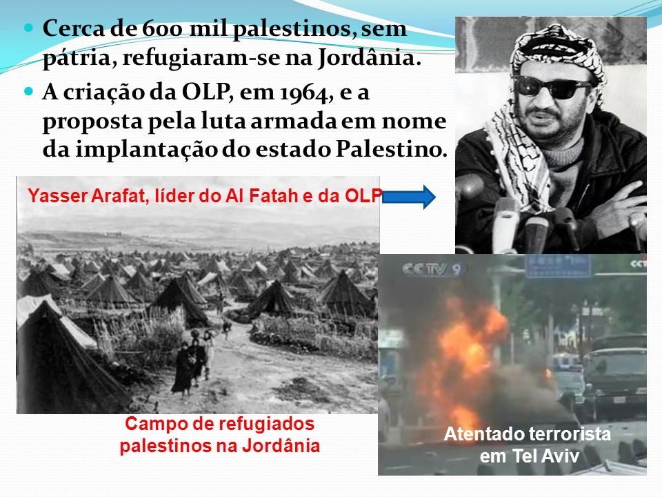 Cerca de 600 mil palestinos, sem pátria, refugiaram-se na Jordânia. A criação da OLP, em 1964, e a proposta pela luta armada em nome da implantação do