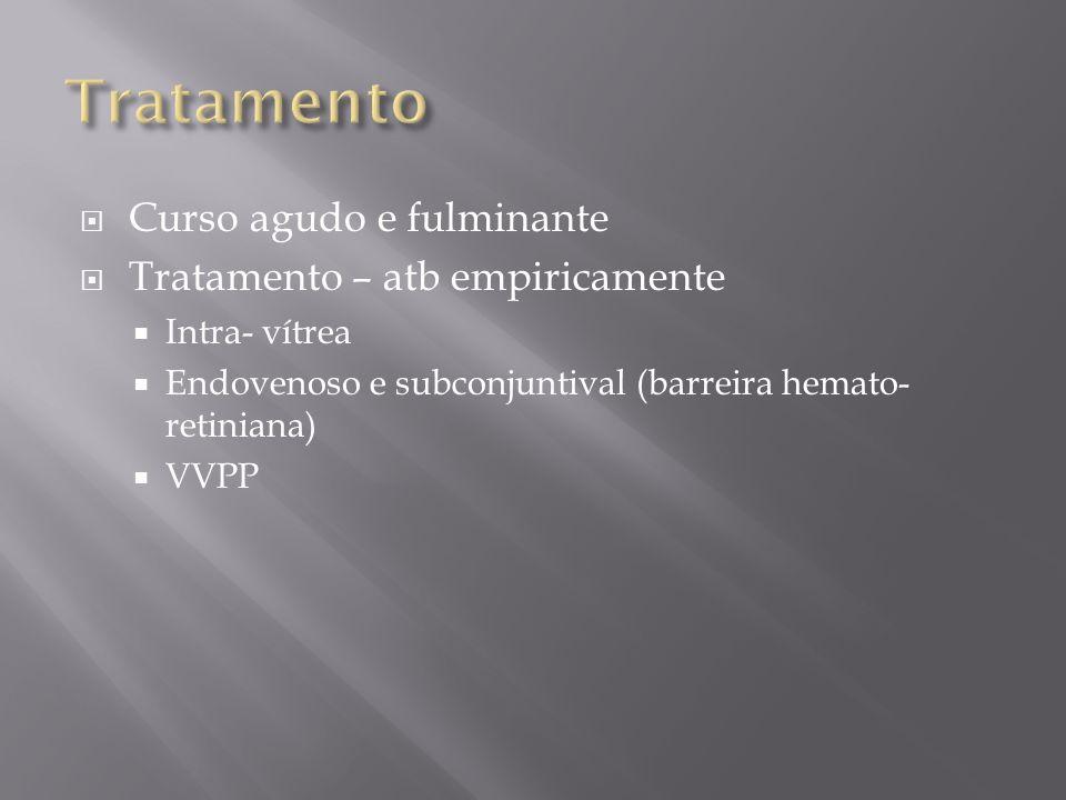 Curso agudo e fulminante Tratamento – atb empiricamente Intra- vítrea Endovenoso e subconjuntival (barreira hemato- retiniana) VVPP