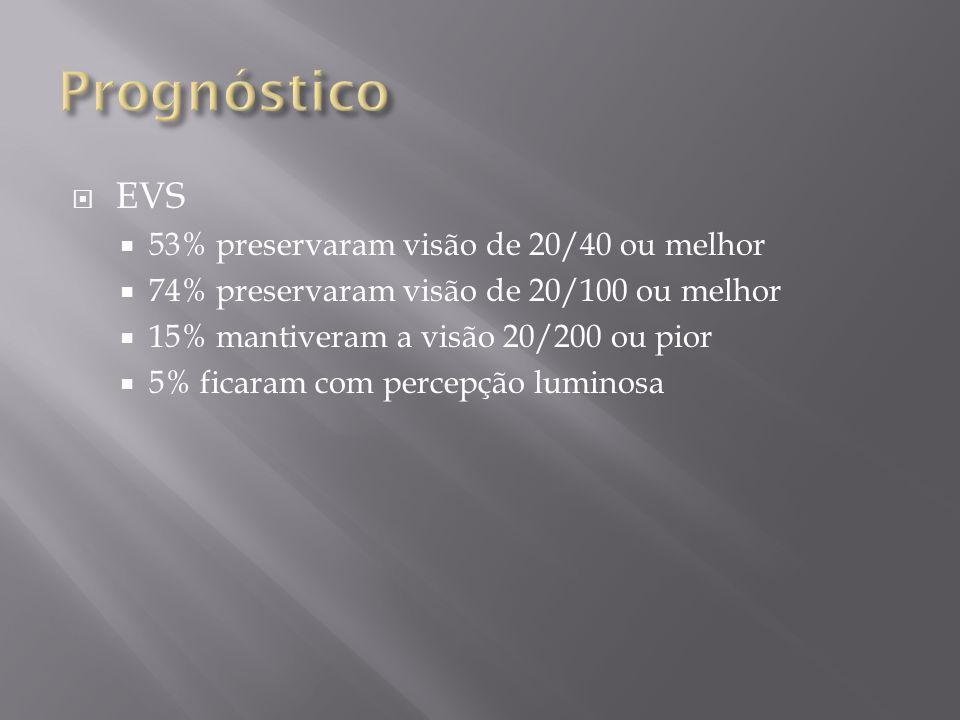 EVS 53% preservaram visão de 20/40 ou melhor 74% preservaram visão de 20/100 ou melhor 15% mantiveram a visão 20/200 ou pior 5% ficaram com percepção