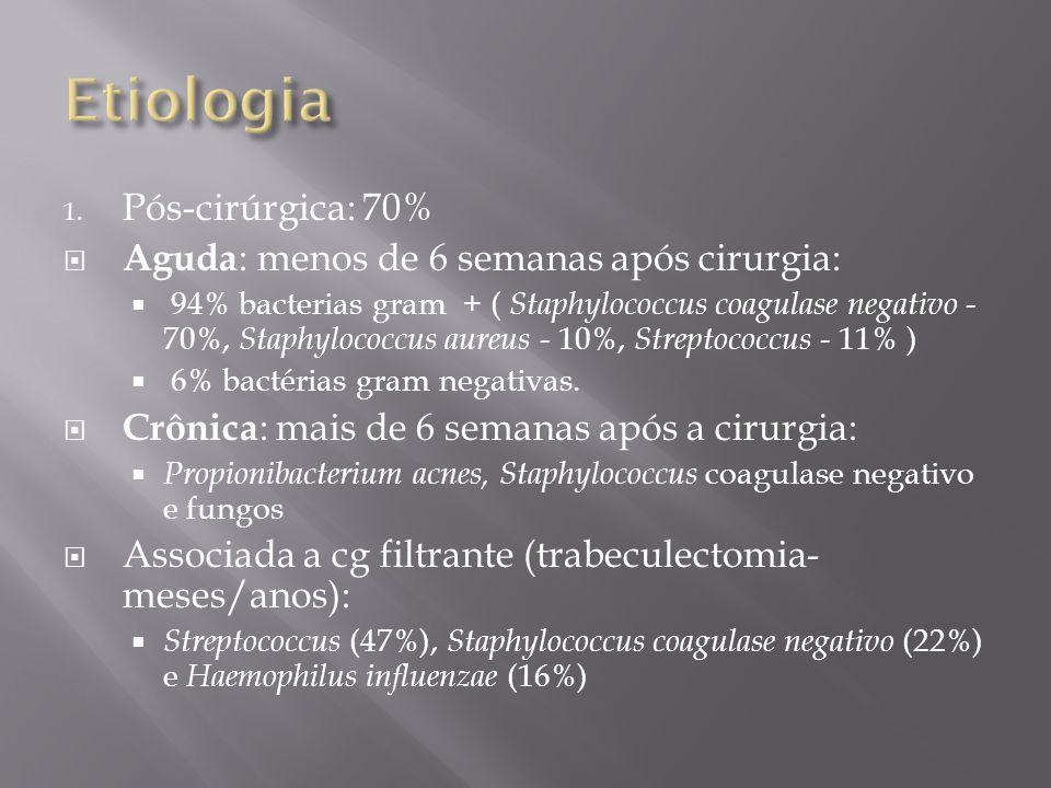 1. Pós-cirúrgica: 70% Aguda : menos de 6 semanas após cirurgia: 94% bacterias gram + ( Staphylococcus coagulase negativo - 70%, Staphylococcus aureus