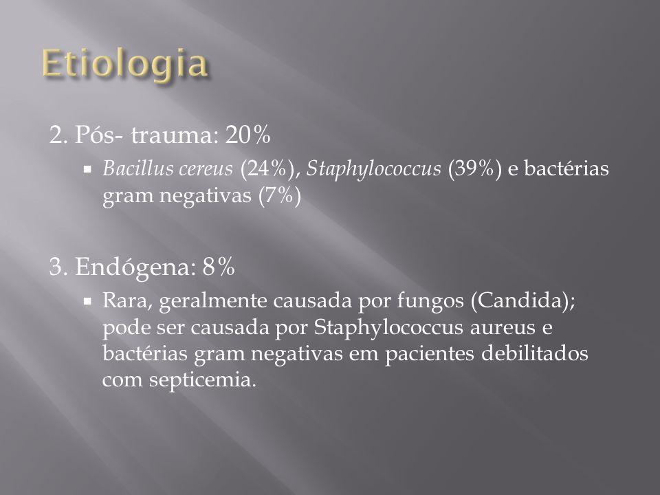2. Pós- trauma: 20% Bacillus cereus (24%), Staphylococcus (39%) e bactérias gram negativas (7%) 3. Endógena: 8% Rara, geralmente causada por fungos (C