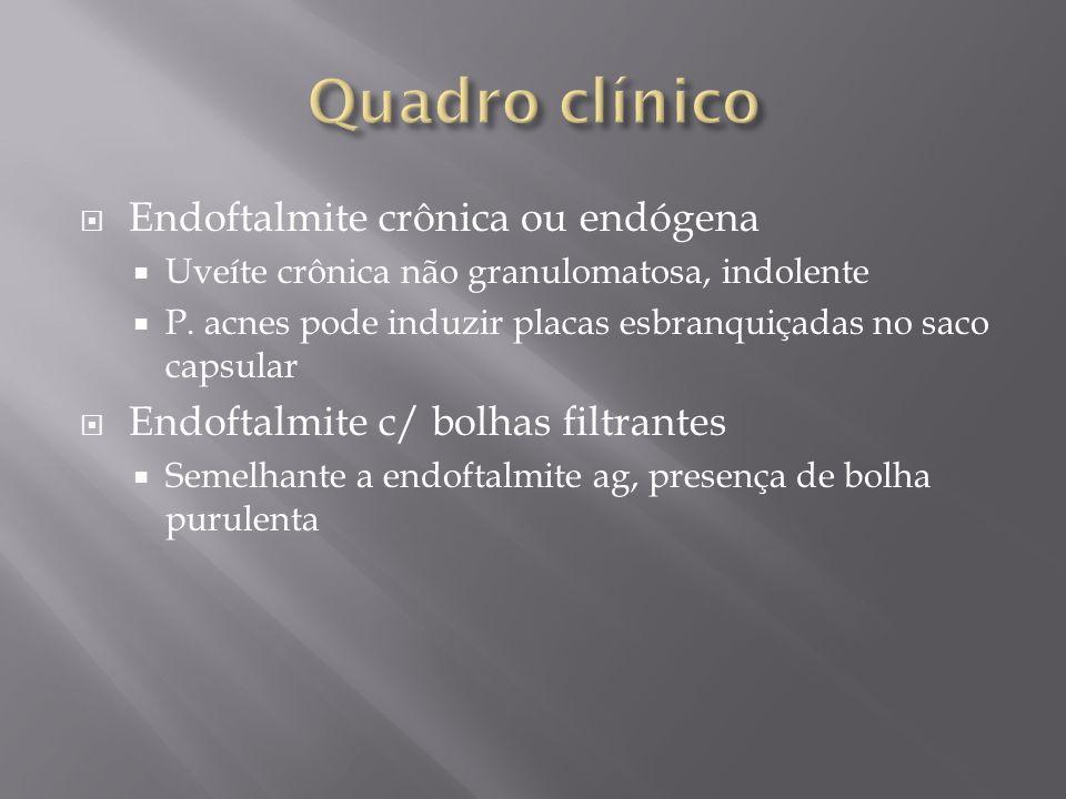 Endoftalmite crônica ou endógena Uveíte crônica não granulomatosa, indolente P. acnes pode induzir placas esbranquiçadas no saco capsular Endoftalmite