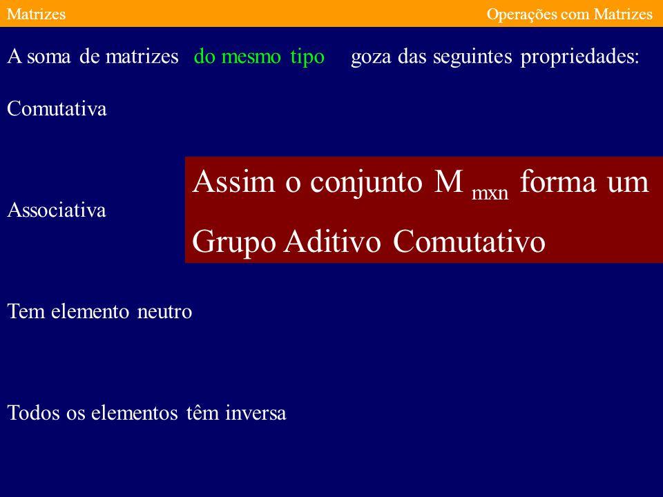MatrizesOperações com Matrizes goza das seguintes propriedades: Comutativa Associativa Tem elemento neutro Todos os elementos têm inversa A soma de matrizes do mesmo tipo