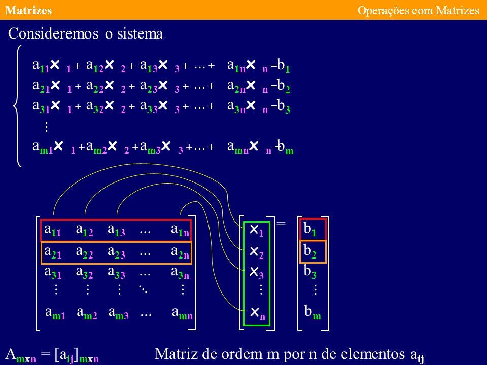 MatrizesOperações com Matrizes e os escalares e as seguintes propriedades são válidas: Dadas as matrizes A e B do mesmo tipo