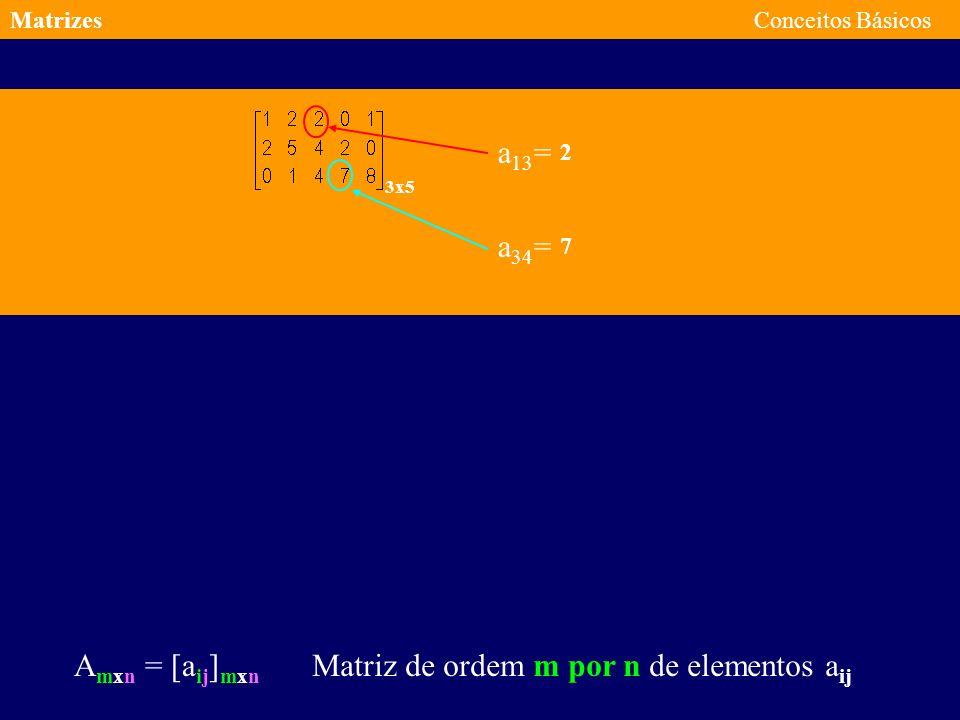 a 12 x 2 + a 13 x 3 + a 1n x n = b1b1 a 11 x 1 + MatrizesConceitos Básicos A= a11a11 a12a12 a13a13 a21a21 a22a22 a23a23 a1na1n...