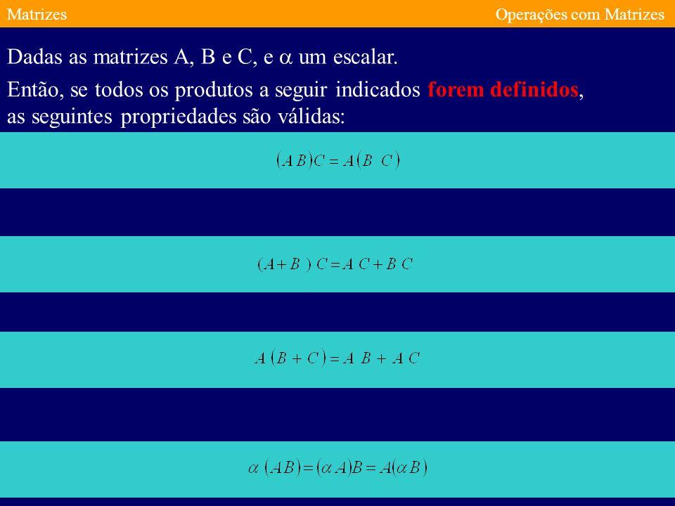 MatrizesOperações com Matrizes Produto de Matrizes Seja A uma matriz de tipo mxn e B uma matriz do tipo O produto de A por B é uma matriz C do tipo cujos elementos são dados por: mxp e escreve-se C=AB.