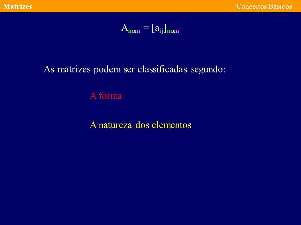 MatrizesConceitos Básicos A mxn = [a ij ] mxn Matriz de ordem m por n de elementos a ij 3x5 a 13 = 2 a 34 = 7