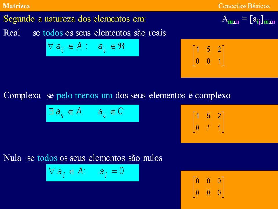 MatrizesConceitos Básicos A mxn = [a ij ] mxn Segundo a forma em: Rectangular Quadrada Coluna Linha Se o número de linhas é diferente do número de colunas Se o número de linhas é igual do número de colunas Se o número de colunas é igual a um Se o número de linhas é igual a um Uma matriz quadrada do tipo m por m diz-se de ordem m