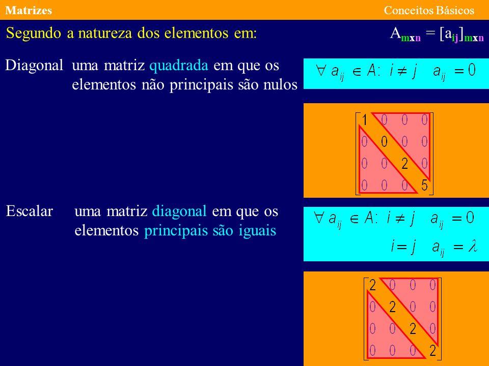 MatrizesConceitos Básicos A mxn = [a ij ] mxn Segundo a natureza dos elementos em: Triangular Superior Triangular Inferior uma matriz quadrada em que os elementos abaixo da diagonal principal são nulos uma matriz quadrada em que os elementos acima da diagonal principal são nulos
