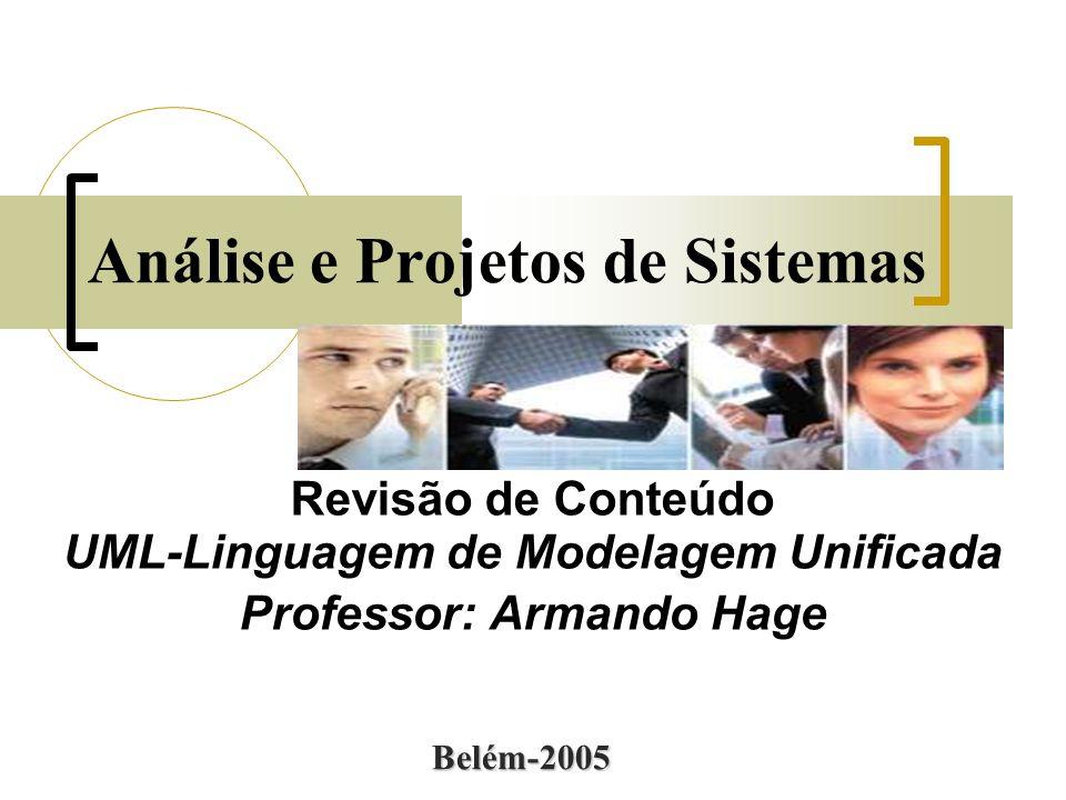Análise e Projetos de Sistemas Revisão de Conteúdo UML-Linguagem de Modelagem Unificada Professor: Armando Hage Belém-2005
