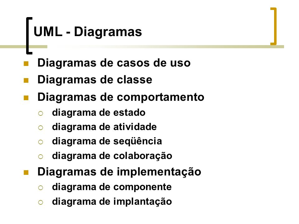UML - Diagramas Diagramas de casos de uso Diagramas de classe Diagramas de comportamento diagrama de estado diagrama de atividade diagrama de seqüência diagrama de colaboração Diagramas de implementação diagrama de componente diagrama de implantação