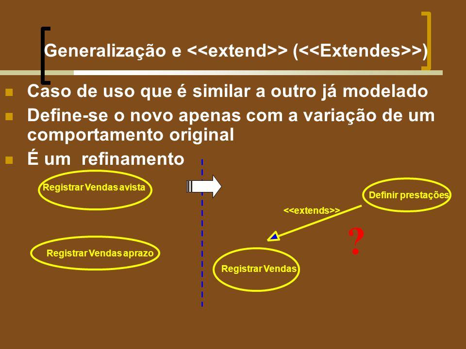 Generalização e > ( >) Caso de uso que é similar a outro já modelado Define-se o novo apenas com a variação de um comportamento original É um refinamento Registrar Vendas aprazo Registrar Vendas avista > Registrar Vendas Definir prestações ?
